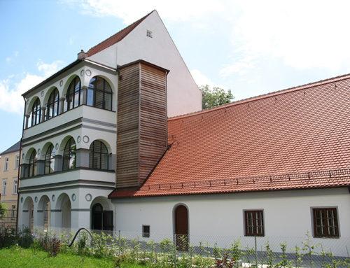 Malerarbeiten am historischen Wieselhaus in Augsburg